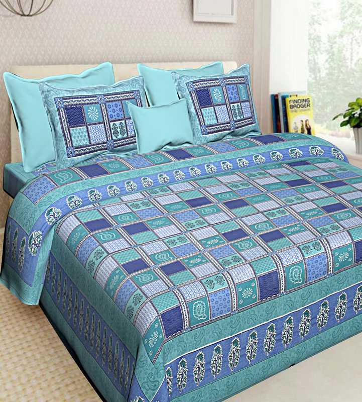 Blue Sea Green Cotton Jaipuri Bedsheet-567
