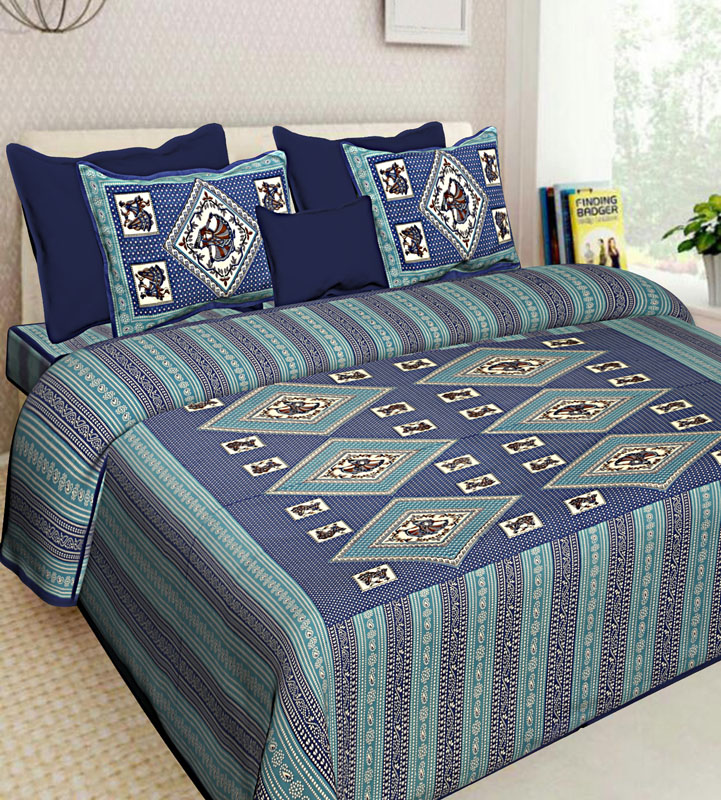 Blue Sea Green Cotton Jaipuri Bedsheet-585