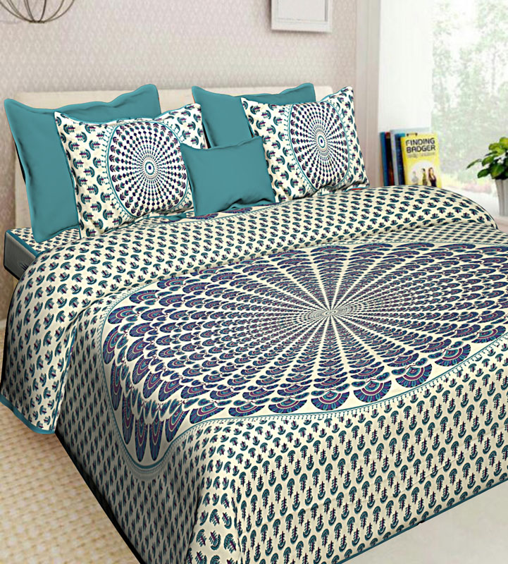Blue Sea Green Cotton Jaipuri Bedsheet-655
