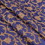 Blue Silk Base Fabric With Golden Flower Embroidery-60591