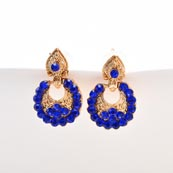 Blue Stone Circular Design with Golden Polish Earring for Women