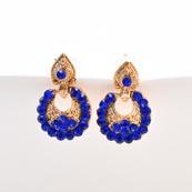 Blue Stone Circular Design with Golden Polish Earring for Women