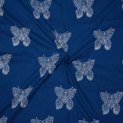 Blue White Block Print Cotton Fabric-14746