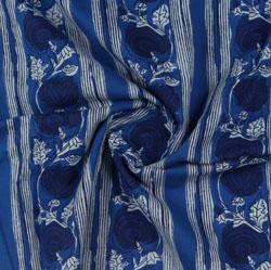 Blue White Block Print Cotton Fabric-16137