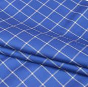 Blue White Checks Wool Fabric-90093