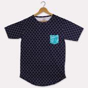 Blue White Cotton T-shirt-33385