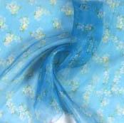 Blue White Digital Floral Organza Silk Fabric-51822