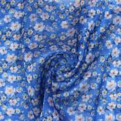 Blue White Digital Organza Silk Fabric-51731