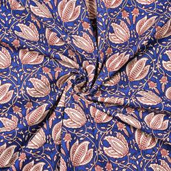 Blue White Floral Block Print Cotton Fabric-28428