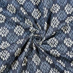 Blue White Floral Block Print Cotton Fabric-28511