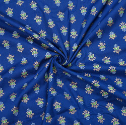 Blue White Floral Cotton Fabric-28091