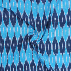 Blue White Ikat Cotton Fabric-11054