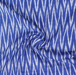 Blue White Ikat Cotton Fabric-11057