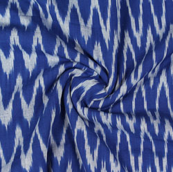 Blue White Ikat Cotton Fabric-11074