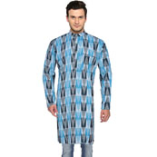 Blue White Ikat Cotton Khadi Long Kurta-33186