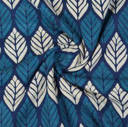 Blue White Indigo Block Print Cotton Fabric-16018