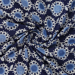 Blue White Indigo Block Print Cotton Fabric-16046