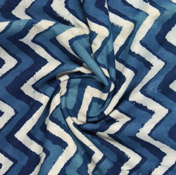 Blue White Indigo Block Print Cotton Fabric-16181