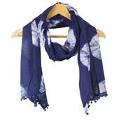 Blue White Shibori Cotton Block Print Dupatta With Pom Pom-33106