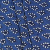 Blue-White and Black Floral Pattern Block Print Cotton Slub Fabric-14333