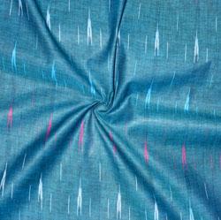 Blue White and Cyan Ikat Cotton Fabric-11154