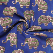 Blue-White and Green Elephant Kalamkari Cotton Fabric-10173