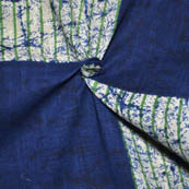 Blue-White and Green Square Pattern Slub Cotton Fabric-14145
