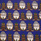 Blue-White and Orange Buddha Shape Kalamkari Cotton Fabric-5578