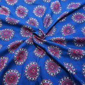Blue-White and Pink Circular Design Block Print Cotton Fabric-14205