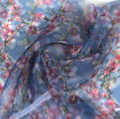 Blue White and Pink Digital Floral Organza Silk Fabric-51827