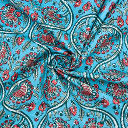 Blue White and Pink Floral Cotton Fabric-28623