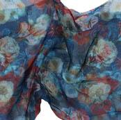 Blue White and Red Digital Organza Silk Fabric-51723