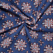 Blue-White and Red Floral Pattern Ajrakh Block Cotton Fabric-14008