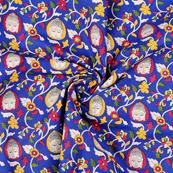 Blue-White and Yellow Buddha Cotton Kalamkari Fabric-10135