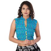 Blue-White and Yellow Cut Sleeveless Cotton Ikat Blouse-30211