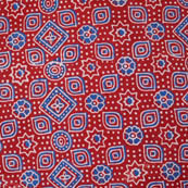 Blue-Whtie and Red Ajrakh Flower Indian Cotton Fabric-4201