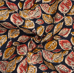 Blue Yellow Floral Cotton Kalamkari Fabric-28039