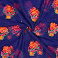 Blue Yellow Floral Net Embroidery Fabric-19097