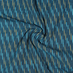 Blue Yellow Ikat Cotton Fabric-11069
