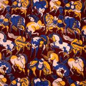 Blue-Yellow and Brown Horse Pattern Kalamkari Fabric-5523