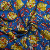 Blue-Yellow and Red Floral Design Block Print Cotton Fabric-14175