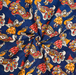 Blue Yellow and White Animal Cotton Kalamkari Fabric-28055