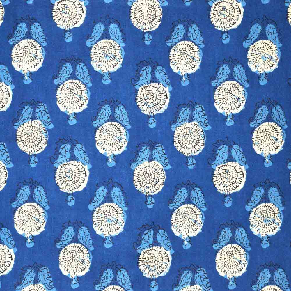 Blue and Cream Hand Block Print Cotton Fabric