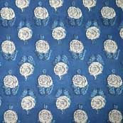 Blue and Cream Sanganeri Printed Soft Cotton Fabric
