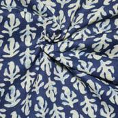 Blue and Cream leaf Shape Indigo Block Print Fabric-14007