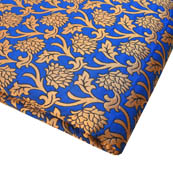 Blue and Golden Beautiful Flower Pattern Brocade Silk Fabric-8171