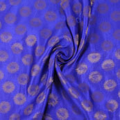 Blue and Golden Brocade Silk Fabric-8866