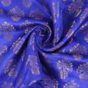 Blue and Golden Brocade Silk Fabric-8873