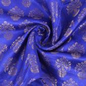 Blue and Golden Brocade Silk Fabric-8873