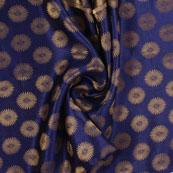 Blue and Golden Brocade Silk Fabric-8879